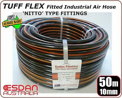 Air tool Steel Fitted Nitto type coupling Tuff Flex Industrial hose 10mm x 50m