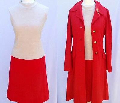 Vintage 60s Red & Cream Space Age Mod Scooter Shift Dress Jacket Suit S-M UK 10