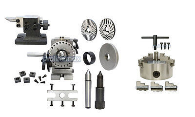 BS-1 Precision Semi Universal Dividing Head Tailstock Spindle w/ 6'' 3 JAW CHUCK