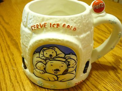"2005 Large Coca-Cola Collectible ""serve Ice Cold"" Polar Bear Igloo Mug-Excellent"
