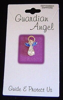 September birthstone Guardian Angel pin, sapphire crystals