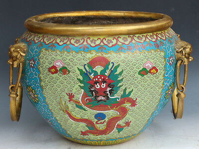 Chinese Exquisite Handmade dragon pattern Copper Cloisonne Pot