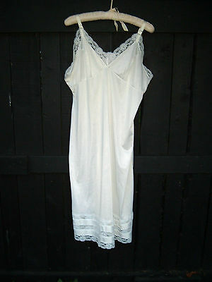 Vintage Womens Slip Adjustable Straps White Lace Mid Calf Size 42 Used