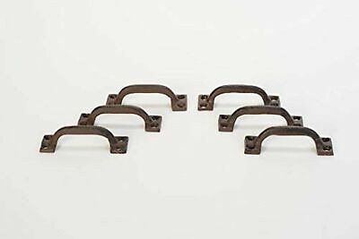 "Lot/Set of 6 Rust Rustic New 3.5"" Cast Iron Small Drawer Pull Handle Cupboard Ca"