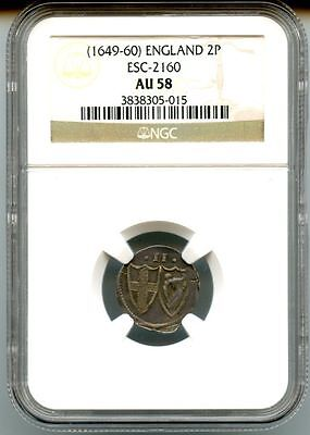 1649-60 Great Britian Silver 2 Pence Oliver Cromwell S-2160 Ngc Au58