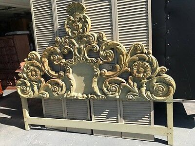 Headboard French Provincial Scroll King Size Bedroom Furniture Carved Wood Bed