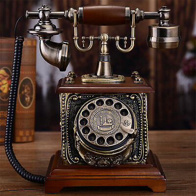 European Retro Antique wood retro rotary dial Vintage Home Corded Telephone F035