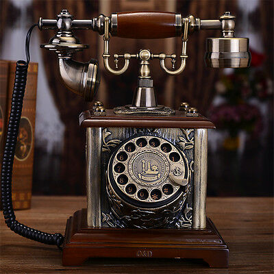 Retro Antique solid wood retro rotary dial Vintage Home Corded Telephone F032