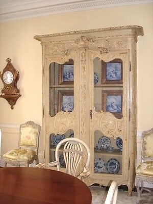 18th CENTURY PAINTED FRENCH  LOUIS XV WALNUT BIBLIOTHEQUE ARMOIRE