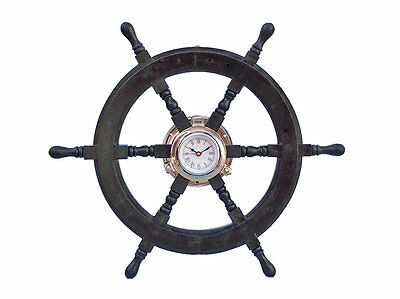 "Oversized 24"" Wood and Chrome Pirate Ship Wheel Clock Beachcrest Home (NEW)"