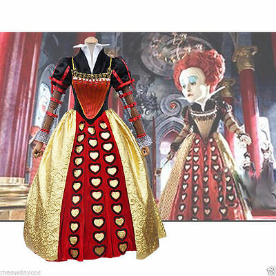 CL796 Queen Of Hearts Alice in Wonderland Long Gown Dress Fancy Dress Up Costume
