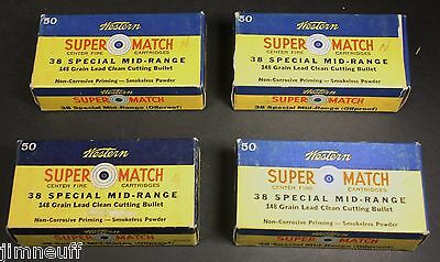 Lot of 4 Nice Vintage Western Super Match .38 Special Clean Cutting Empty Boxes