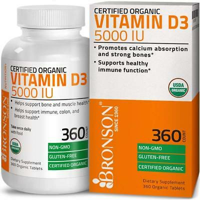 Vitamin D3 5,000 IU High Potency USDA Certified Organic Vitamin D, 360 Tablets