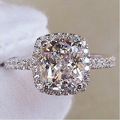 Women Engagement Wedding Ring Crystal White Gold Rhinestone Plated Rings Jewelry