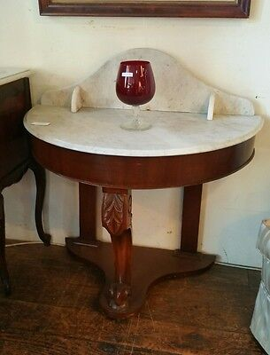 Half Round Semi-circular Marble Top Table Antique Hall Table