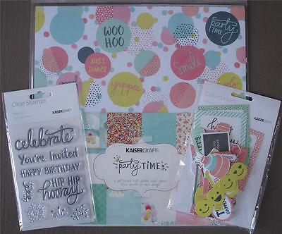 "Bulk ~ PARTY TIME ~ Patterned Paper Pack Stickers + Stamps + Die Cuts 12""x12"""