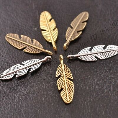 10 25 or 50 Tibetan Silver Feather Pendant Charms 4x19mm