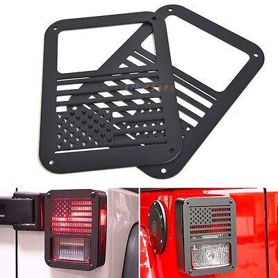 2x Rear Taillight Cover Guard Protect U.S. American Flag for 07-16 Jeep Wrangler