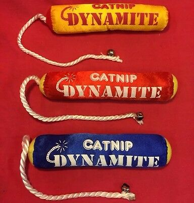 Cat Kitten Toy 3 X Catnip Dynamite & Bell Yellow Interactive15 inch overall