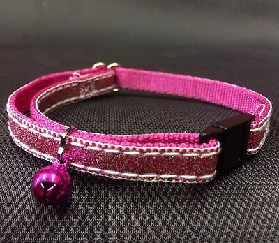 Cat kitten Collar Adj Nylon Glitter 2 Tone Pink Quick Release Safety Buckle Bell