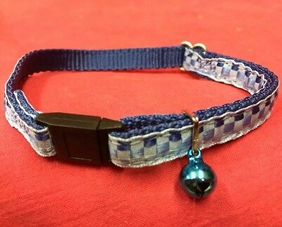 Cat kitten Collar Adj Nylon 2 Tone Checked BLUE Quick Release Safety Buckle bell
