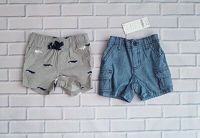 2 Pairs of Baby Boy Shorts, CARTER'S and GYMBOREE, Size 3-6 months