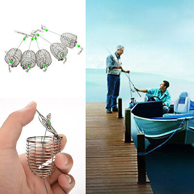 5Pcs Stainless Steel Wire Net Fishing Lure Cage Fish Bait Trap Basket Tackle