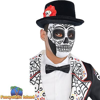 DAY OF THE DEAD SKULL MASK HALLOWEEN - adults mens ladies fancy dress costume