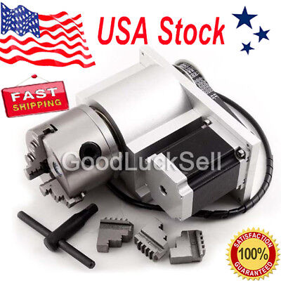 CNC Router Rotational Rotary Axis, A-axis, 4th-axis,3-Jaw and Tail stock US FAST