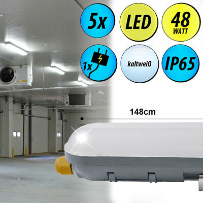 Set of 5 48 Watt LED Spotlights Basement Ceiling Industry Daylight Lamps IP65