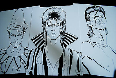 David Bowie Ziggy Stardust, Aladdin Sane, Pierrot ink illustration postcards set