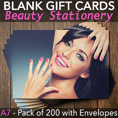 Gift Voucher Cards for Massage/Beauty/Nail/Hairdressers - x200+FREE Envelopes HN