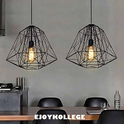 Black Wire Cage Ceiling Pendant Light Vintage Industrial Modern Lamp Restaurant