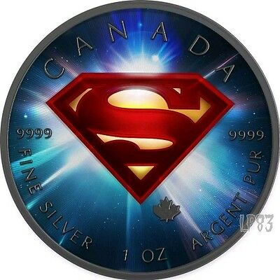 2016 1 Oz Silver Colorized SPACE Superman Coin WITH Ruthenium..