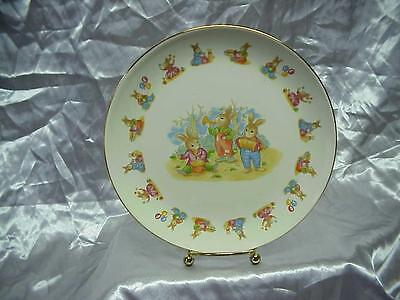 Vintage Rabbit  Bunny Child Plate Mount Clemens Pottery Children
