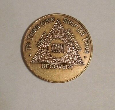aa alcoholics anonymous bronze 36  year recovery sobriety coin token