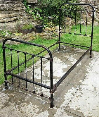 Original Victorian Wrought Iron Single Bed Frame