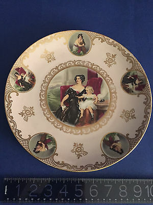 Gilded Mitterteich Victorian MOTHER AND DAUGHTER cabinet plate over 10 in LOVELY