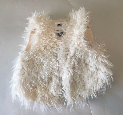 Toddler Infant Old Navy White Faux Fur Vest Size 12-18 Months VGC Stylish Baby