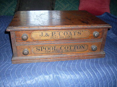 Antique 2 Drawer Coat and Clarks  Thread Spool Cabinet Counter Store Display