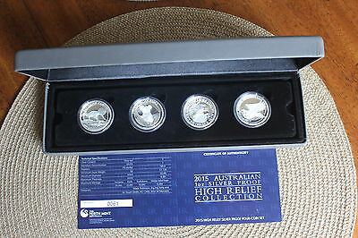 2015 Australia $1 1 Oz Silver HR Proof Coins CERT 0061 -Set of 4 Coins W/Box&COA