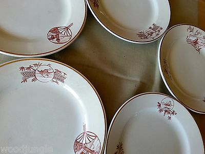 5 RARE Antique KNOWLES TAYLOR and & PORTS OF CALL PLATES SHIP FAN NAUTICAL CRANE