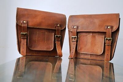 Motorcycle Pouch Brown Leather 2 Bags Side Pouch Saddlebags Saddle Panniers