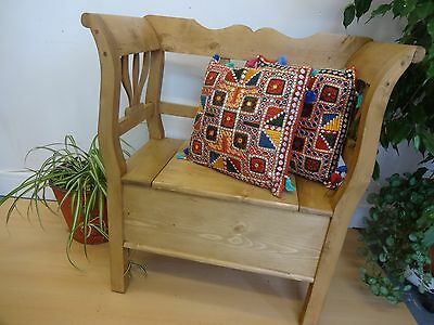 Lovely Wood Wooden Settle Bench With Under Seat Storage