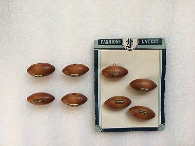 "Vintage 8 Wood Football Buttons 1"" Long"