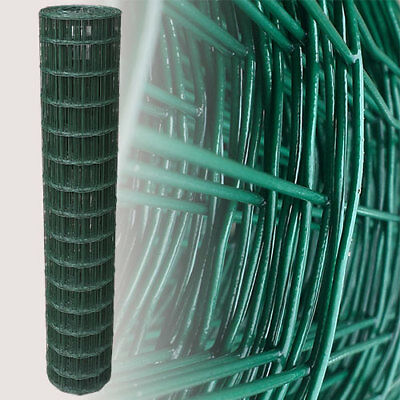 PVC Coated Wire Mesh Fencing 25m 150cm 82ft 5ft Green Galvanised Garden Fence