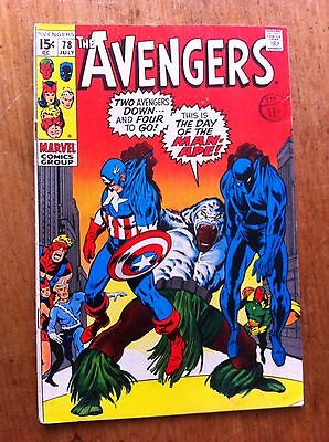 Avengers #78 Silver Age Marvel Comic VG Condition
