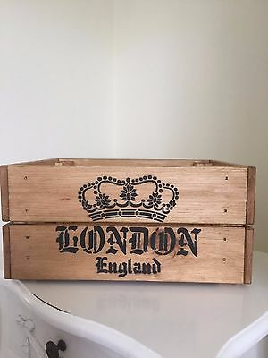 Vintage Style Wooden Crown London England  Champagne Wine Crate Box Storage