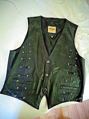 Hard Rock Cafe Mexico Save the Planet Small Leather Biker Vest-Vintage Retro 80s