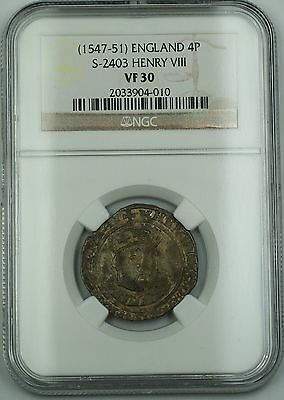 NGC Certified VF 30 (1547-51) Henry VIII England TONED Groat 4P Coin S-2403